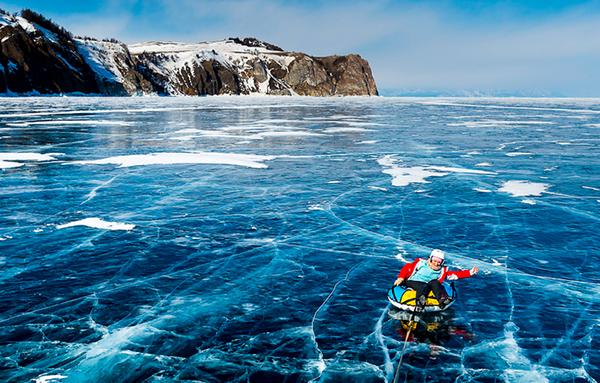 frozen baikal lake siberia