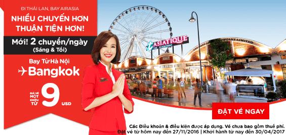 Photo of Air Asia – Hà Nội đi Bangkok giá vé chưa thuế chỉ 9USD